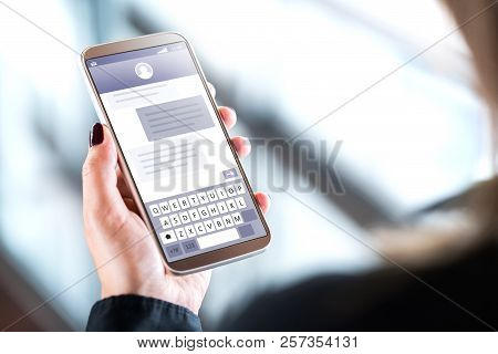 Woman Sending Text Messages With
