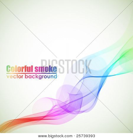 Abstract colorful vector smoke background with copy space.