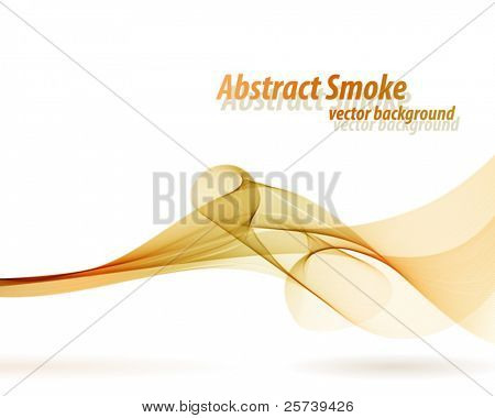 Orange smoky wave vector background with white copy space.