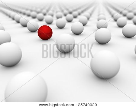 Red ball surrounded by white ones with the focus on it.