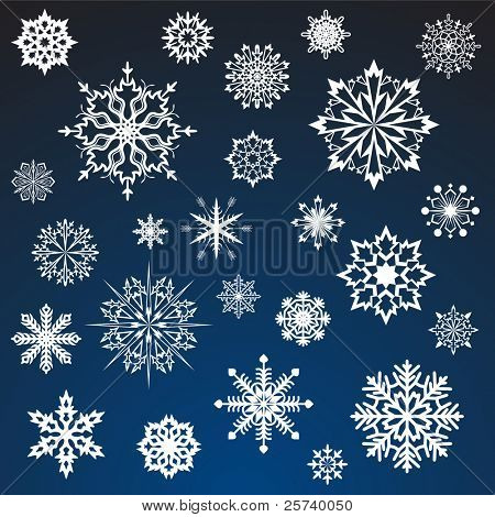 White snowflakes vector set isolated on dark blue background.