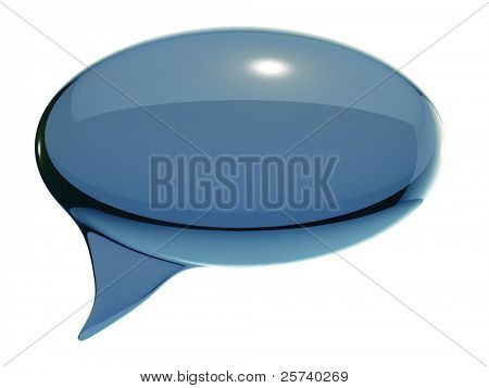 Glass speech bubble isolated on white background.