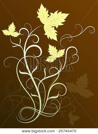 Vine leaves vector background.