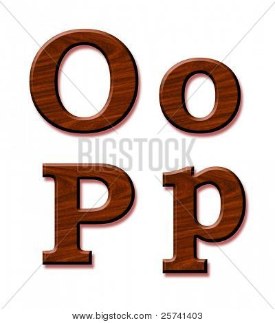 Wooden alphabet. Letters Oo and Pp