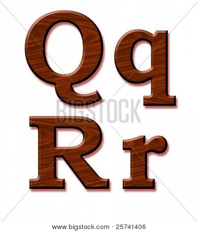 Wooden alphabet. Letters Qq and Rr