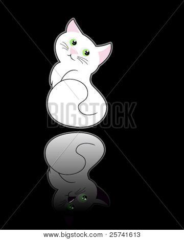 weiße Pussycat sitzen auf dem glänzenden Boden