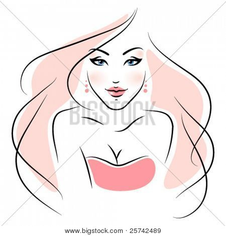 Fashion girl. Vector without background