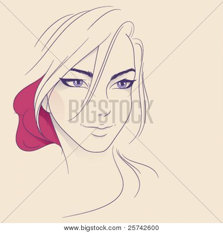 Young beauty. Abstract teen girl face