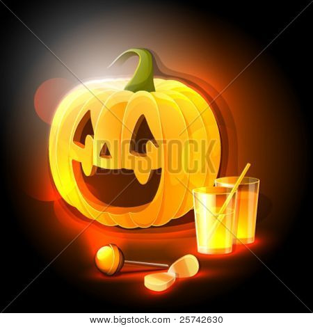 Halloween party: pumpkin, soft drinks and sweets