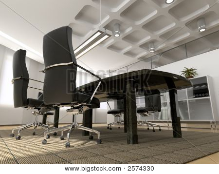 the modern office interior (3D