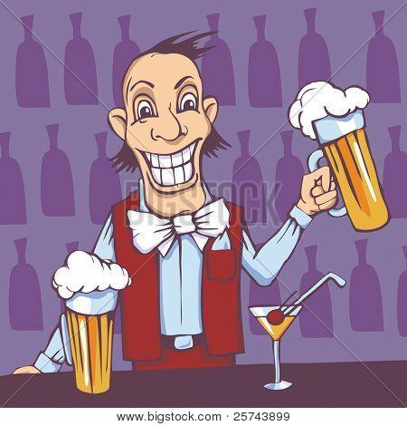 smiling barman serving beer