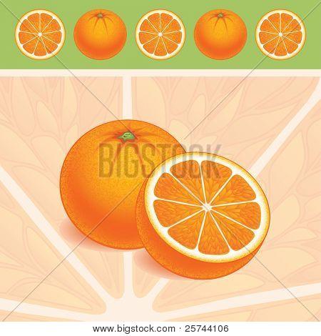 Naranjas, vector AI8. Fondo y objetos pueden utilizarse por separado.