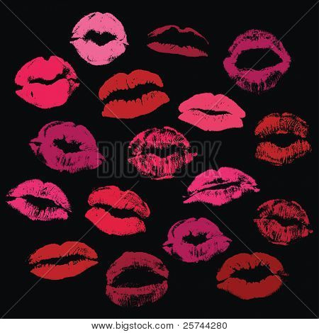collection of kisses, vector