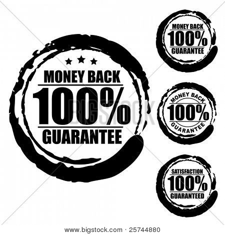 Vector advertising natural looking stamp (label, sign, seal, icon) for 100% money back guarantee service.