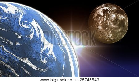 Nocturnal photo composition of the earth with moon with sun and moon