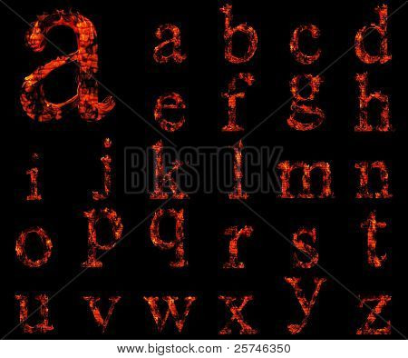 High resolution conceptual red burning fire fonts isolated on black background, ideal for holiday,vintage or industrial designs. A set,group or collection letters in red and orange flames on black