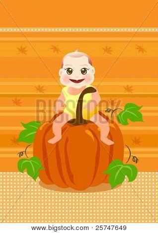 baby sit on a big pumpkin