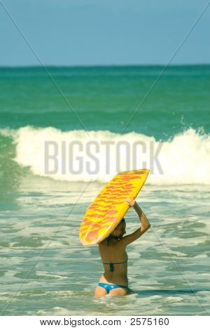 Woman Holding Boogie Board