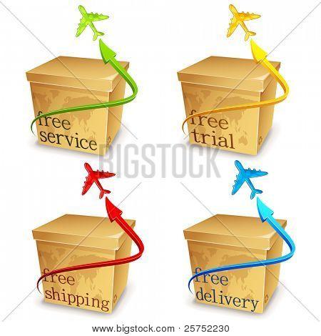 Abbildung Reihe von Karton mit Flugzeug for free shipping!