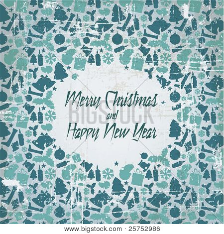 Retro christmas vector card with seasonal pattern - blue and teal