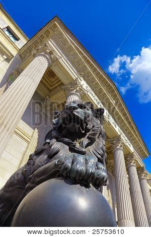 Lion At Spanish Congress Of Deputies In Madrid