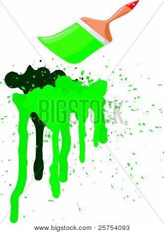 Vector Illustration Of Green Spots  With A Brush Of Green Paint