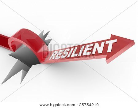 An arrow jumps over a hole, with the word Resilient to illustrate a winning attitude and determined approach to conquering a problem