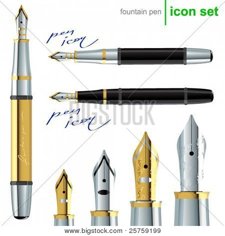 realistic vector fountain pen icons