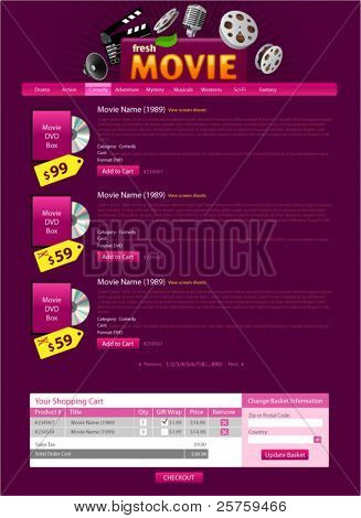 Movie sale site template. Just replace images and sample text. Easy editable.