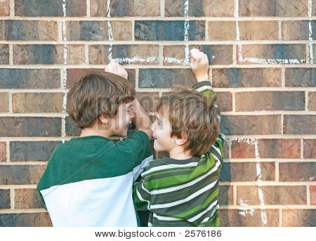 Boys Playing With Chalk