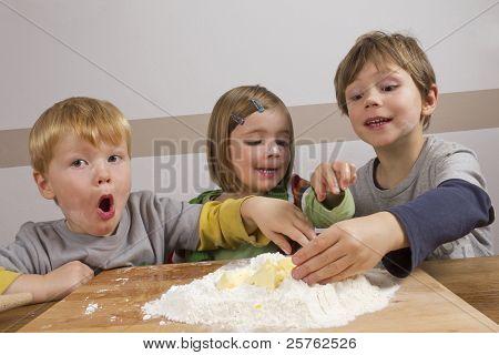 Kids Having Fun Making Dough