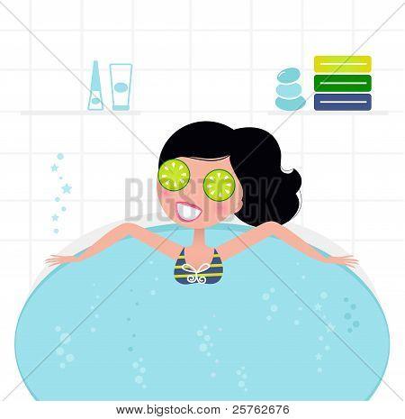 Mulher Retro bonito relaxante em banheira de hidromassagem banheira de espuma...