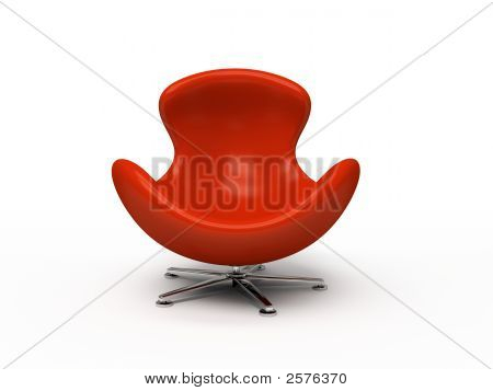 Leather Red Armchair Isolated On White Background 3D Rendering