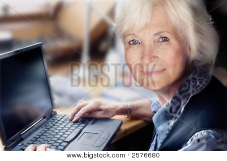 Senior Woman And Laptop