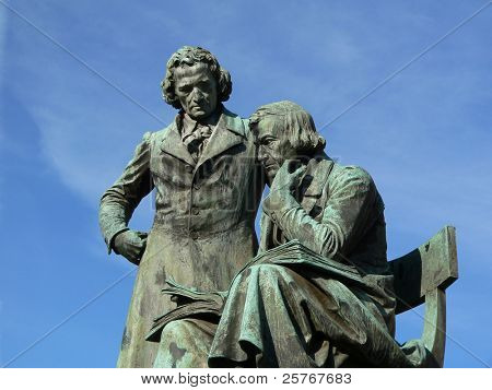 Grimm Brothers - famous literary monument in Hanau city, Germany, sculpted by Syrius Eberle
