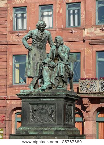 Grimm Brothers - famous literary German sculpture in Hanau city, Germany, sculpted by Syrius Eberle