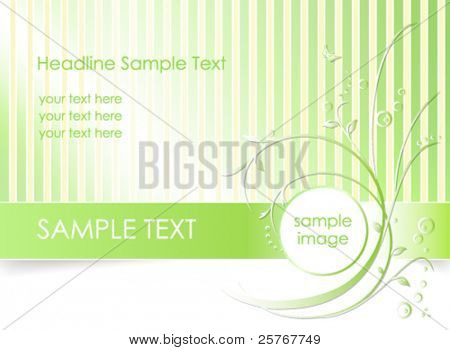 Green flower background with lines - romantic floral greeting card - suitable for spring themes - vector, eps10