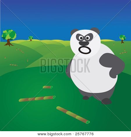Deforestation Concept Showing Angry Panda Without Food