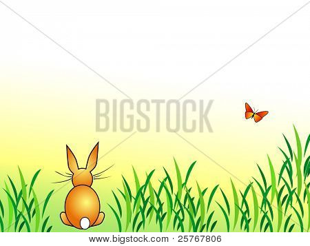 Bunny background - rabbit sitting in green grass with butterfly - cartoon Easter design