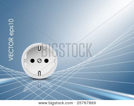 Socket, outlet - abstract electric energy concept - background with white abstract power cables against blue shiny background - symbolic of electricity and power supply lines - vector illustration