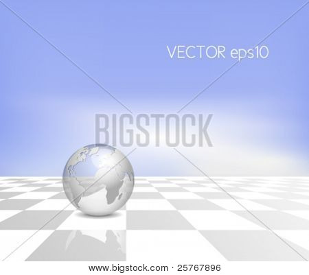 Business map concept - silver 3d globe on white grey checkerboard background with blue sky - vector