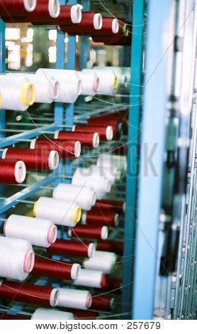 Yarn Spools At A Textile Plant
