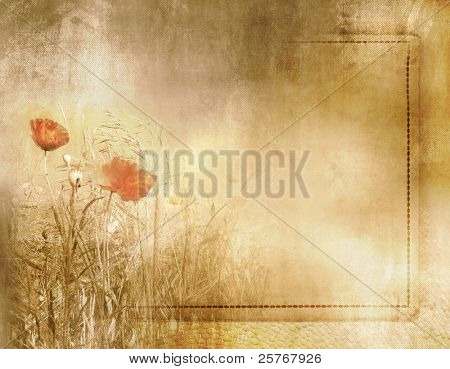 Vintage poppy field background on old paper texture with frame - artistic grunge flower design