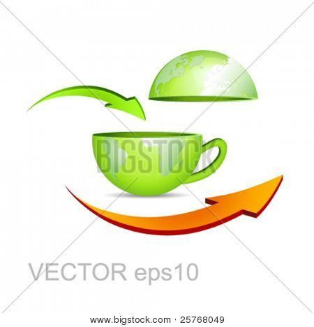 Green earth map - business globe in shape of a coffee cup with arrows against white background - recycle symbol