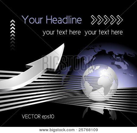 Vector mundo mapa, globo y flecha - fondo de negocios - comunicación global concepto