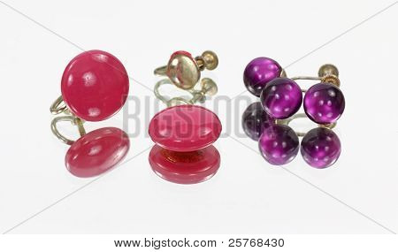 Mirror Image Rose And Purple Earrings