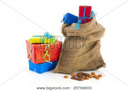 Jute bag full of Dutch Sinterklaas presents with neutral wrapping paper