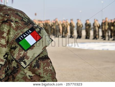 Italian Armed Forces Uniform With Tricolore At A Parade