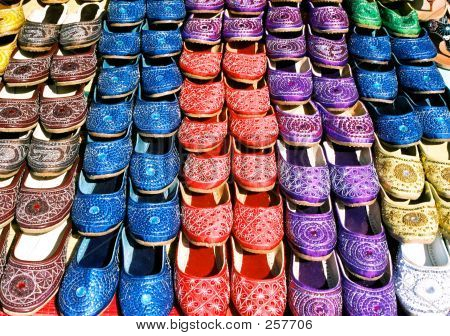 Colorful Shoes In Flea Market