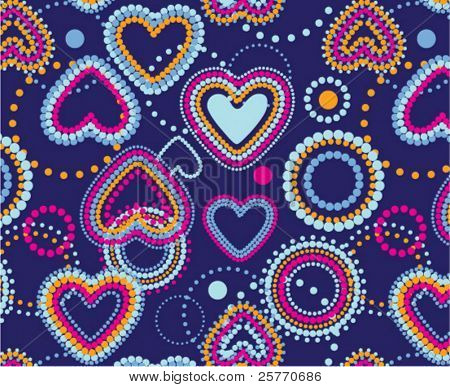 Dotty hearts seamless background